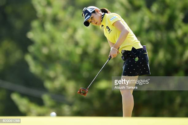 Shinobu Moromizato of Japan putts on the 18th hole during the first round of the Century 21 Ladies Golf Tournament 2017 at the Seta Golf Course on...