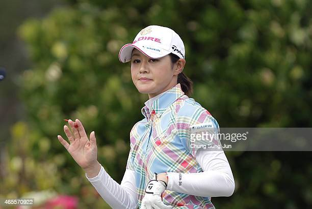 Shinobu Moromizato of Japan reacts after a shot during the final round of the Daikin Orchid Ladies Golf Tournament at the Ryukyu Golf Club on March 8...
