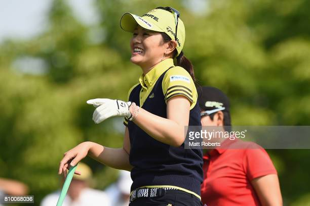 Shinobu Moromizato of Japan shares a laugh during the first round of the Nipponham Ladies Classics at the Ambix Hakodate Club on July 7 2017 in...