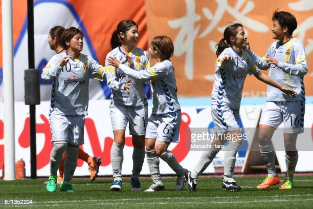 Shinobu Ohno of INAC Kobe Leonessa celebrates the first goal during the Nadeshiko League match between Albirex Niigata Ladies and INAC Kobe Leonessa...