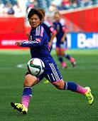 Shinobu Ohno of Japan against Ecuador during the FIFA Women's World Cup Canada 2015 Group C match between Ecuador and Japan at Winnipeg Stadium on...
