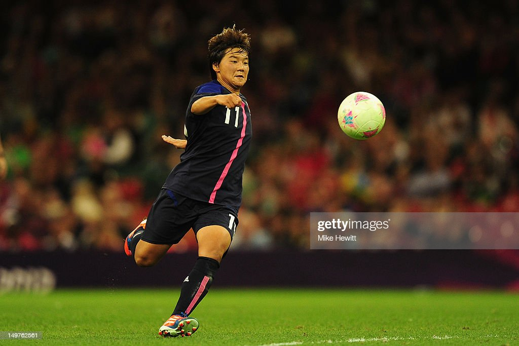 Shinobu Ohno of Japan breaks through to score her team's second goal during the Women's Football Quarter Final match between Brazil and Japan, on Day 7 of the London 2012 Olympic Games at Millennium Stadium on August 3, 2012 in Cardiff, Wales.