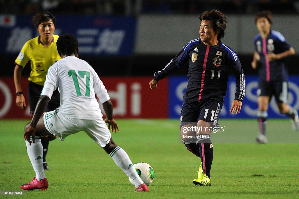 Shinobu Ohno #11 of Japan in action during the Women's international friendly match between Japan and Nigeria at Fukuda Denshi Arena on September 26, 2013 in Chiba, Japan.