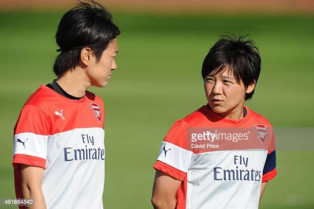Shinobu Onho and Yakuri Kinga of Arsenal Ladies during their training session at London Colney on July 3 2014 in St Albans England