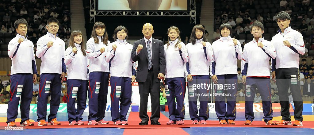 <a gi-track='captionPersonalityLinkClicked' href=/galleries/search?phrase=Shinobu+Ota&family=editorial&specificpeople=13820612 ng-click='$event.stopPropagation()'>Shinobu Ota</a>, <a gi-track='captionPersonalityLinkClicked' href=/galleries/search?phrase=Tomohiro+Inoue+-+Wrestler&family=editorial&specificpeople=14709963 ng-click='$event.stopPropagation()'>Tomohiro Inoue</a>, <a gi-track='captionPersonalityLinkClicked' href=/galleries/search?phrase=Eri+Tosaka&family=editorial&specificpeople=9149207 ng-click='$event.stopPropagation()'>Eri Tosaka</a>, <a gi-track='captionPersonalityLinkClicked' href=/galleries/search?phrase=Kaori+Icho&family=editorial&specificpeople=2374687 ng-click='$event.stopPropagation()'>Kaori Icho</a>, <a gi-track='captionPersonalityLinkClicked' href=/galleries/search?phrase=Sara+Dosho&family=editorial&specificpeople=9439517 ng-click='$event.stopPropagation()'>Sara Dosho</a>, head coach <a gi-track='captionPersonalityLinkClicked' href=/galleries/search?phrase=Kazuhito+Sakae&family=editorial&specificpeople=5493758 ng-click='$event.stopPropagation()'>Kazuhito Sakae</a>, <a gi-track='captionPersonalityLinkClicked' href=/galleries/search?phrase=Saori+Yoshida&family=editorial&specificpeople=2374710 ng-click='$event.stopPropagation()'>Saori Yoshida</a>, <a gi-track='captionPersonalityLinkClicked' href=/galleries/search?phrase=Risako+Kawai&family=editorial&specificpeople=12551397 ng-click='$event.stopPropagation()'>Risako Kawai</a>, <a gi-track='captionPersonalityLinkClicked' href=/galleries/search?phrase=Rio+Watari&family=editorial&specificpeople=9149213 ng-click='$event.stopPropagation()'>Rio Watari</a>, <a gi-track='captionPersonalityLinkClicked' href=/galleries/search?phrase=Rei+Higuchi&family=editorial&specificpeople=15914788 ng-click='$event.stopPropagation()'>Rei Higuchi</a> and <a gi-track='captionPersonalityLinkClicked' href=/galleries/search?phrase=Sosuke+Takatani&family=editorial&specificpeople=13560244 ng-click='$event.stopPropagation()'>Sosu
