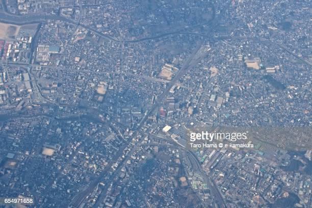 Shinsakaemachi area in Omuta city, daytime aerial view from airplane