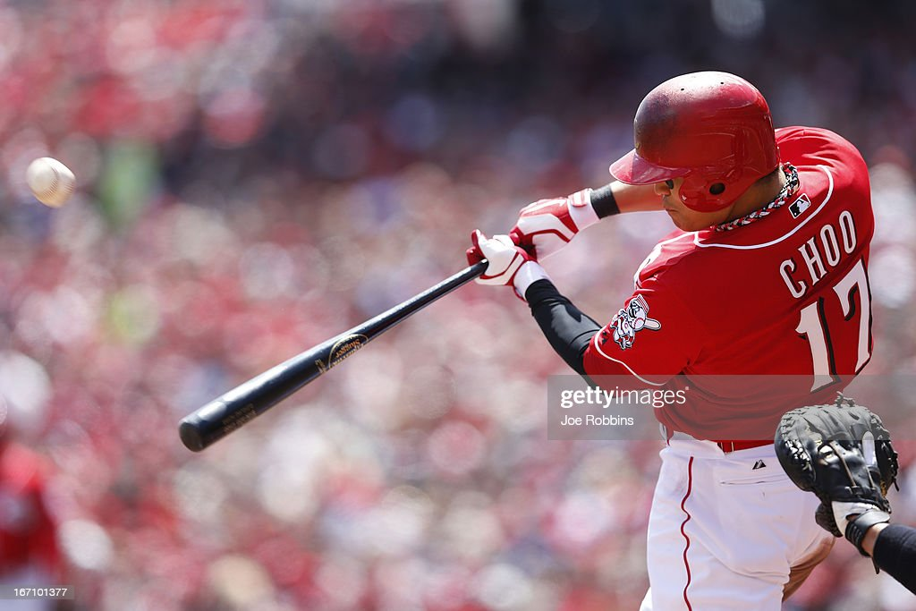 <a gi-track='captionPersonalityLinkClicked' href=/galleries/search?phrase=Shin-Soo+Choo&family=editorial&specificpeople=196543 ng-click='$event.stopPropagation()'>Shin-Soo Choo</a> #17 of the Cincinnati Reds bats against the Miami Marlins during the game at Great American Ball Park on April 20, 2013 in Cincinnati, Ohio.