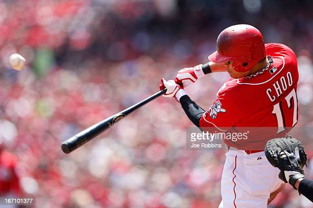 ShinSoo Choo of the Cincinnati Reds bats against the Miami Marlins during the game at Great American Ball Park on April 20 2013 in Cincinnati Ohio