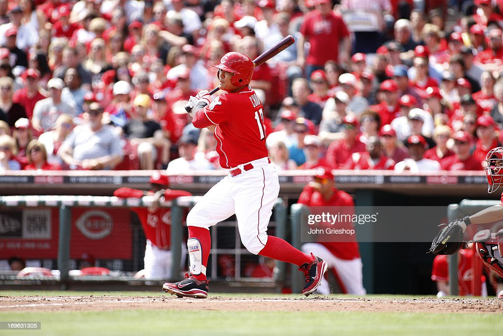 <a gi-track='captionPersonalityLinkClicked' href=/galleries/search?phrase=Shin-Soo+Choo&family=editorial&specificpeople=196543 ng-click='$event.stopPropagation()'>Shin-Soo Choo</a> #17 of the Cincinnati Reds bats during the game against the Washington Nationals on Sunday, April 7, 2013 at Great American Ballpark in Cincinnati, Ohio. The Reds defeated the Nationals 6-3.