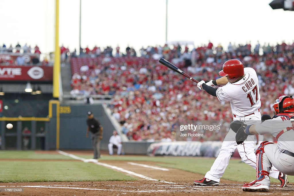 <a gi-track='captionPersonalityLinkClicked' href=/galleries/search?phrase=Shin-Soo+Choo&family=editorial&specificpeople=196543 ng-click='$event.stopPropagation()'>Shin-Soo Choo</a> #17 of the Cincinnati Reds drives in a run with a ground out in the second inning of the game against the St. Louis Cardinals at Great American Ball Park on September 4, 2013 in Cincinnati, Ohio.