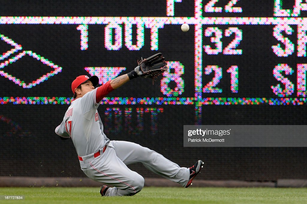<a gi-track='captionPersonalityLinkClicked' href=/galleries/search?phrase=Shin-Soo+Choo&family=editorial&specificpeople=196543 ng-click='$event.stopPropagation()'>Shin-Soo Choo</a> #17 of the Cincinnati Reds fails to catch an Ian Desmond #20 of the Washington Nationals RBI double in the eighth inning during a game at Nationals Park on April 28, 2013 in Washington, DC. Bryce Harper #34 of the Washington Nationals scored on the play.