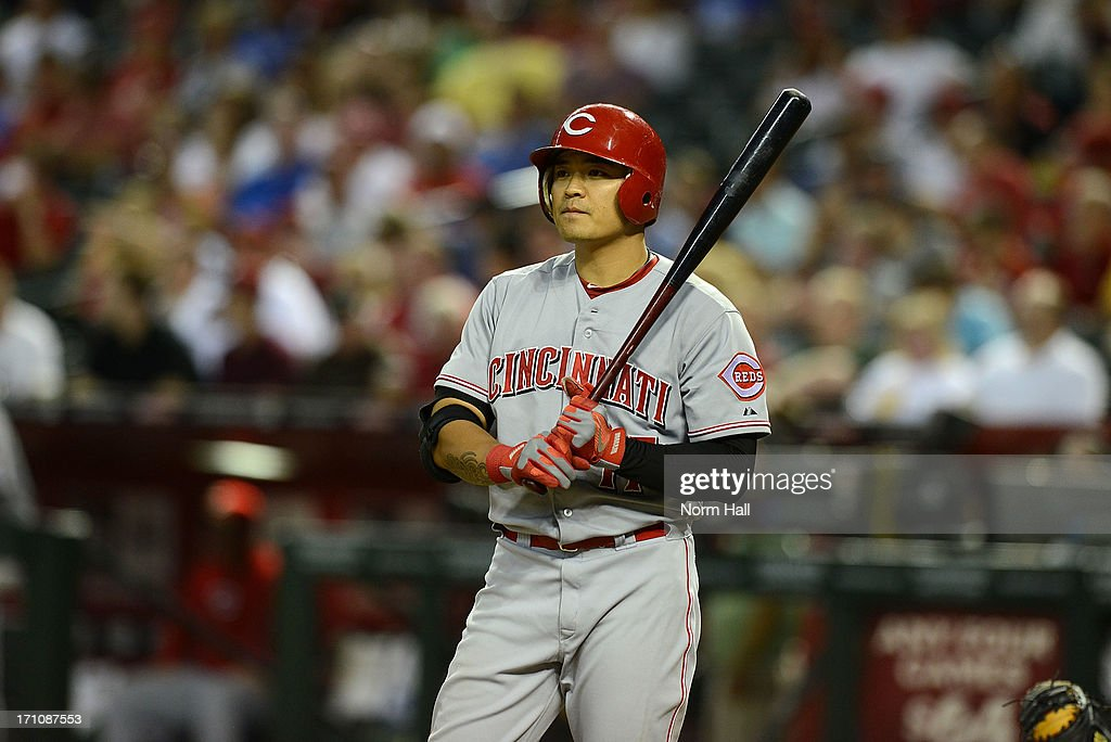 <a gi-track='captionPersonalityLinkClicked' href=/galleries/search?phrase=Shin-Soo+Choo&family=editorial&specificpeople=196543 ng-click='$event.stopPropagation()'>Shin-Soo Choo</a> #17 of the Cincinnati Reds gets ready in the batters box against the Arizona Diamondbacks at Chase Field on June 21, 2013 in Phoenix, Arizona.