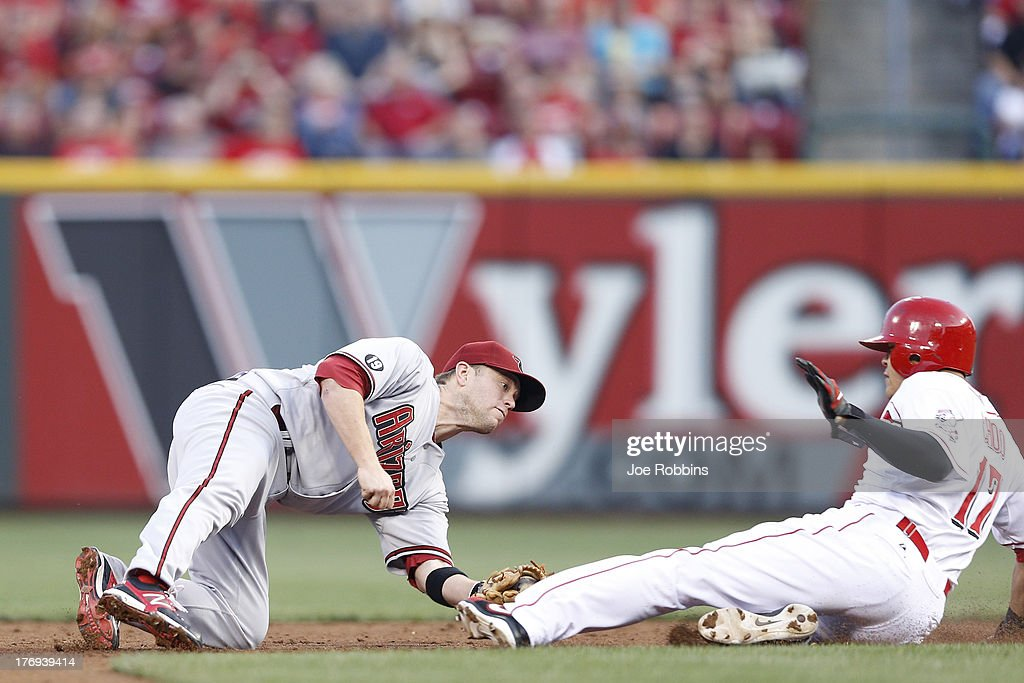 <a gi-track='captionPersonalityLinkClicked' href=/galleries/search?phrase=Shin-Soo+Choo&family=editorial&specificpeople=196543 ng-click='$event.stopPropagation()'>Shin-Soo Choo</a> #17 of the Cincinnati Reds gets tagged out trying to steal second base against <a gi-track='captionPersonalityLinkClicked' href=/galleries/search?phrase=Aaron+Hill+-+Baseball+Player&family=editorial&specificpeople=239242 ng-click='$event.stopPropagation()'>Aaron Hill</a> #2 of the Arizona Diamondbacks during the game at Great American Ball Park on August 19, 2013 in Cincinnati, Ohio.