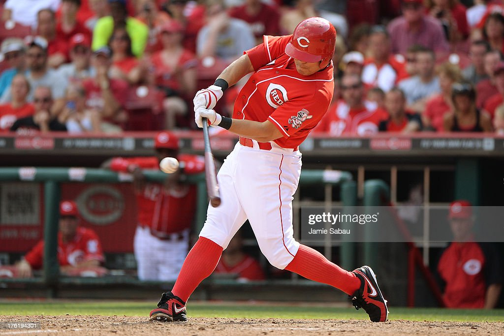 <a gi-track='captionPersonalityLinkClicked' href=/galleries/search?phrase=Shin-Soo+Choo&family=editorial&specificpeople=196543 ng-click='$event.stopPropagation()'>Shin-Soo Choo</a> #17 of the Cincinnati Reds hits a double in the 13th inning against the San Diego Padres at Great American Ball Park on August 11, 2013 in Cincinnati, Ohio. Cincinnati defeated San Diego 3-2 in 13 innings.