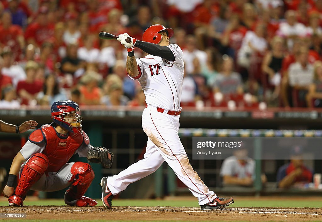 Shin-Soo Choo #17 of the Cincinnati Reds hits a home run in the 4th inning during the game against the St. Louis Cardinals at Great American Ball Park on September 5, 2013 in Cincinnati, Ohio.