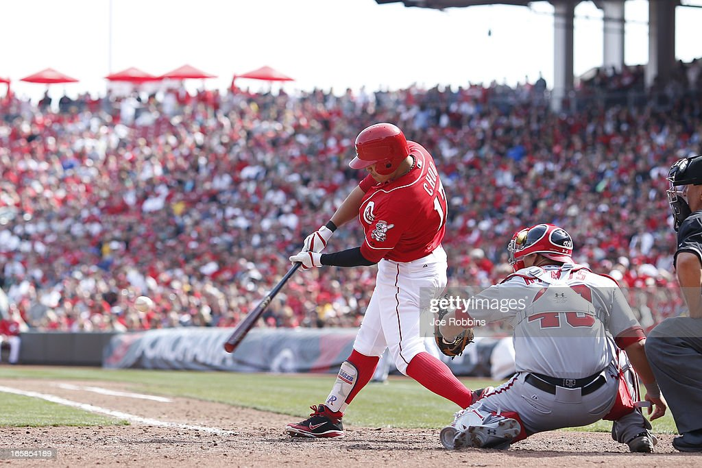 <a gi-track='captionPersonalityLinkClicked' href=/galleries/search?phrase=Shin-Soo+Choo&family=editorial&specificpeople=196543 ng-click='$event.stopPropagation()'>Shin-Soo Choo</a> #17 of the Cincinnati Reds hits a solo home run to lead off the ninth inning of the game against the Washington Nationals at Great American Ball Park on April 6, 2013 in Cincinnati, Ohio. The Nationals won 7-6 in 11 innings.