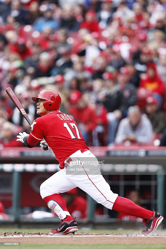 <a gi-track='captionPersonalityLinkClicked' href=/galleries/search?phrase=Shin-Soo+Choo&family=editorial&specificpeople=196543 ng-click='$event.stopPropagation()'>Shin-Soo Choo</a> #17 of the Cincinnati Reds homers to left center field to lead off the game against the Los Angeles Angels of Anaheim at Great American Ball Park on April 4, 2013 in Cincinnati, Ohio.