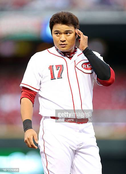 ShinSoo Choo of the Cincinnati Reds is pictured between innings during the game against the Chicago Cubsat Great American Ball Park on April 22 2013...