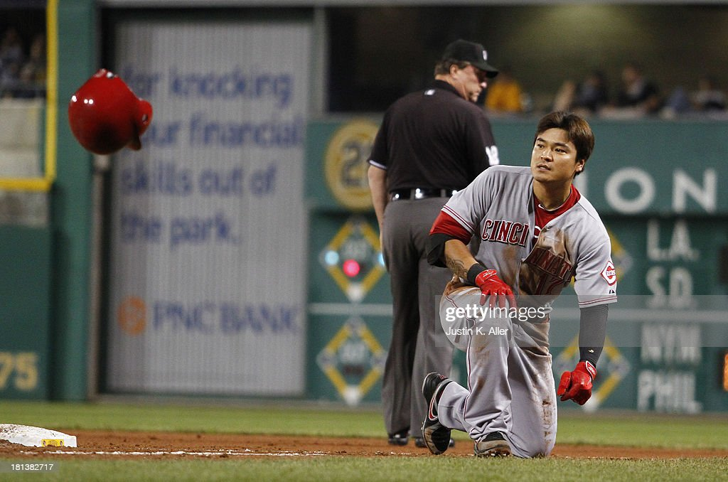 <a gi-track='captionPersonalityLinkClicked' href=/galleries/search?phrase=Shin-Soo+Choo&family=editorial&specificpeople=196543 ng-click='$event.stopPropagation()'>Shin-Soo Choo</a> #17 of the Cincinnati Reds reacts after being called out at first in the ninth inning against the Pittsburgh Pirates during the game on September 20, 2013 at PNC Park in Pittsburgh, Pennsylvania.