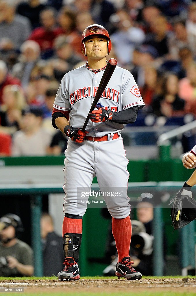 <a gi-track='captionPersonalityLinkClicked' href=/galleries/search?phrase=Shin-Soo+Choo&family=editorial&specificpeople=196543 ng-click='$event.stopPropagation()'>Shin-Soo Choo</a> #17 of the Cincinnati Reds reacts to a called strike in the fourth inning against the Washington Nationals at Nationals Park on April 25, 2013 in Washington, DC.