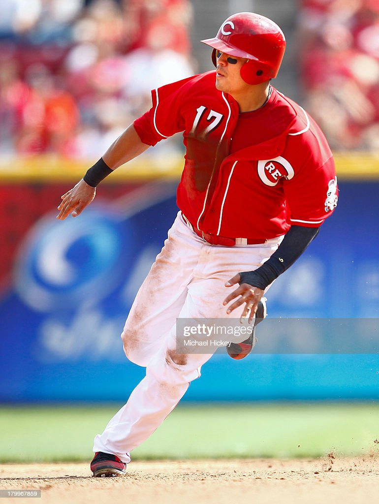 <a gi-track='captionPersonalityLinkClicked' href=/galleries/search?phrase=Shin-Soo+Choo&family=editorial&specificpeople=196543 ng-click='$event.stopPropagation()'>Shin-Soo Choo</a> #17 of the Cincinnati Reds rounds second base and goes on to score the tying run in the seventh inning against the Los Angeles Dodgers at Great American Ball Park on September 7, 2013 in Cincinnati, Ohio. Cincinnati defeated Los Angeles 4-3.
