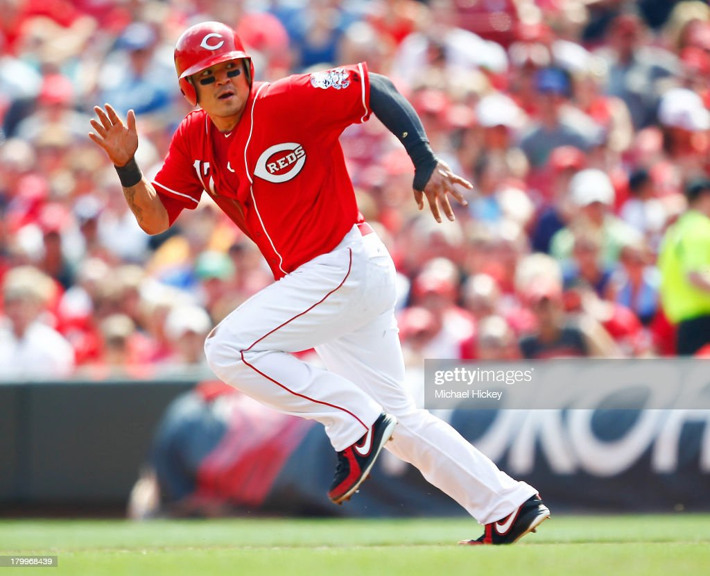 <a gi-track='captionPersonalityLinkClicked' href=/galleries/search?phrase=Shin-Soo+Choo&family=editorial&specificpeople=196543 ng-click='$event.stopPropagation()'>Shin-Soo Choo</a> #17 of the Cincinnati Reds runs the bases in the fifth inning against the Los Angeles Dodgers at Great American Ball Park on September 7, 2013 in Cincinnati, Ohio. Cincinnati defeated Los Angeles 4-3.