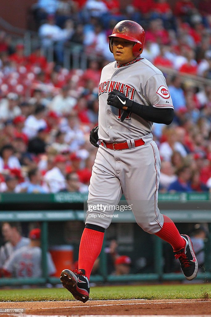 <a gi-track='captionPersonalityLinkClicked' href=/galleries/search?phrase=Shin-Soo+Choo&family=editorial&specificpeople=196543 ng-click='$event.stopPropagation()'>Shin-Soo Choo</a> #17 of the Cincinnati Reds scores a run on an RBI single by <a gi-track='captionPersonalityLinkClicked' href=/galleries/search?phrase=Joey+Votto&family=editorial&specificpeople=759319 ng-click='$event.stopPropagation()'>Joey Votto</a> #19 also of the Cincinnati Reds in the first inning Busch Stadium on April 29, 2013 in St. Louis, Missouri. The Reds beat the Cardinals 2-1.