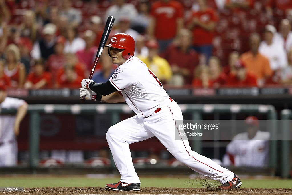 <a gi-track='captionPersonalityLinkClicked' href=/galleries/search?phrase=Shin-Soo+Choo&family=editorial&specificpeople=196543 ng-click='$event.stopPropagation()'>Shin-Soo Choo</a> #17 of the Cincinnati Reds singles in the 15th inning of the game against the St. Louis Cardinals at Great American Ball Park on September 4, 2013 in Cincinnati, Ohio. The Cardinals won 5-4 in 16 innings.