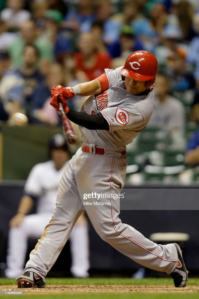 <a gi-track='captionPersonalityLinkClicked' href=/galleries/search?phrase=Shin-Soo+Choo&family=editorial&specificpeople=196543 ng-click='$event.stopPropagation()'>Shin-Soo Choo</a> #17 of the Cincinnati Reds singles in the top of the eighth inning against the Milwaukee Brewers at Miller Park on August 15, 2013 in Milwaukee, Wisconsin.