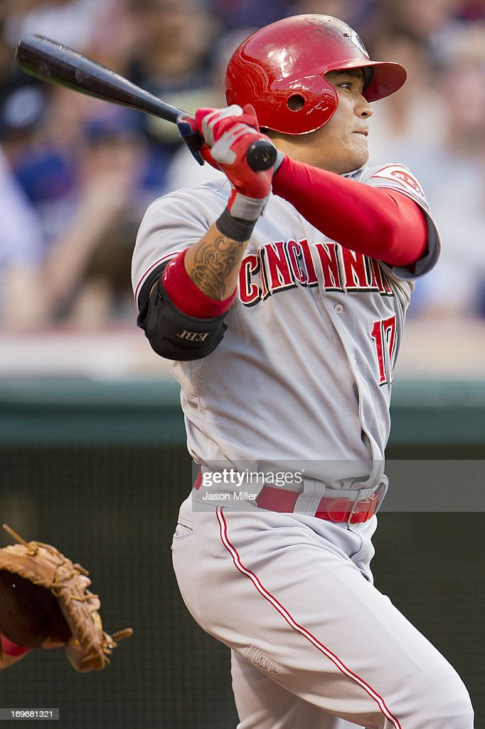 <a gi-track='captionPersonalityLinkClicked' href=/galleries/search?phrase=Shin-Soo+Choo&family=editorial&specificpeople=196543 ng-click='$event.stopPropagation()'>Shin-Soo Choo</a> #17 of the Cincinnati Reds singles to center during the third inning against the Cleveland Indians at Progressive Field on May 30, 2013 in Cleveland, Ohio.