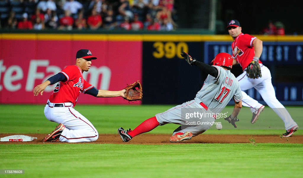 <a gi-track='captionPersonalityLinkClicked' href=/galleries/search?phrase=Shin-Soo+Choo&family=editorial&specificpeople=196543 ng-click='$event.stopPropagation()'>Shin-Soo Choo</a> #17 of the Cincinnati Reds steals second base against <a gi-track='captionPersonalityLinkClicked' href=/galleries/search?phrase=Andrelton+Simmons&family=editorial&specificpeople=8978424 ng-click='$event.stopPropagation()'>Andrelton Simmons</a> #19 of the Atlanta Braves at Turner Field on July 12, 2013 in Atlanta, Georgia.