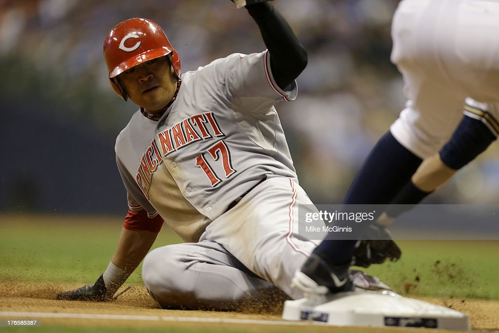 <a gi-track='captionPersonalityLinkClicked' href=/galleries/search?phrase=Shin-Soo+Choo&family=editorial&specificpeople=196543 ng-click='$event.stopPropagation()'>Shin-Soo Choo</a> #17 of the Cincinnati Reds steals third base in the top of the eighth inning against the Milwaukee Brewers at Miller Park on August 15, 2013 in Milwaukee, Wisconsin.