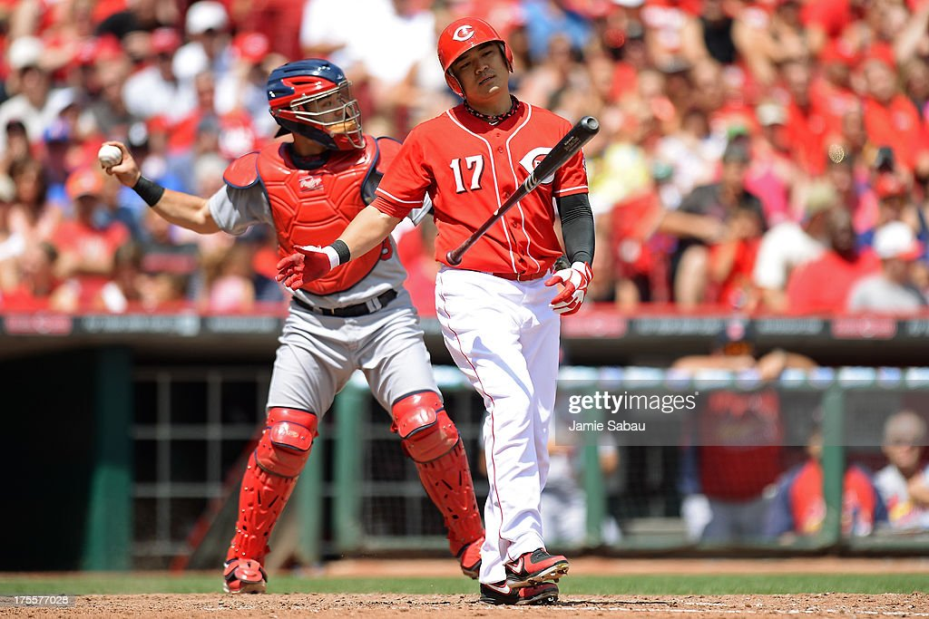 <a gi-track='captionPersonalityLinkClicked' href=/galleries/search?phrase=Shin-Soo+Choo&family=editorial&specificpeople=196543 ng-click='$event.stopPropagation()'>Shin-Soo Choo</a> #17 of the Cincinnati Reds strikes out in the sixth inning against the St. Louis Cardinals at Great American Ball Park on August 4, 2013 in Cincinnati, Ohio. St. Louis defeated Cincinnati 15-2.