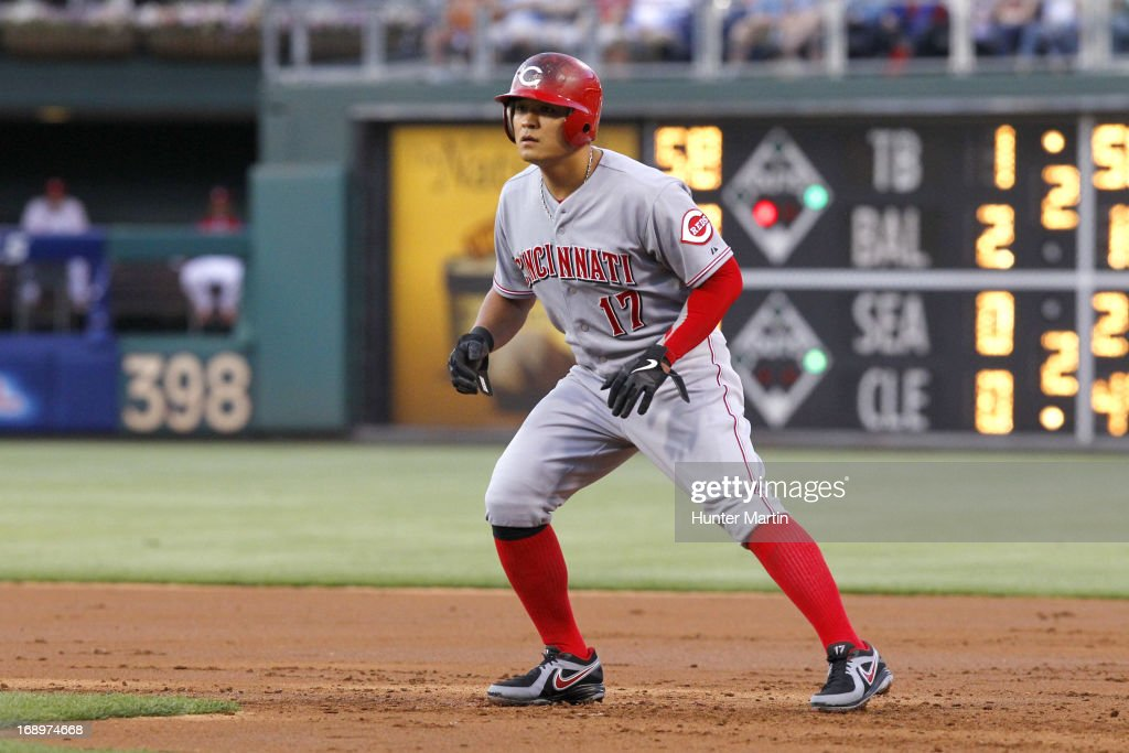 <a gi-track='captionPersonalityLinkClicked' href=/galleries/search?phrase=Shin-Soo+Choo&family=editorial&specificpeople=196543 ng-click='$event.stopPropagation()'>Shin-Soo Choo</a> #17 of the Cincinnati Reds takes a lead off first base during a game against the Philadelphia Phillies at Citizens Bank Park on May 17, 2013 in Philadelphia, Pennsylvania. The Phillies won 5-3.