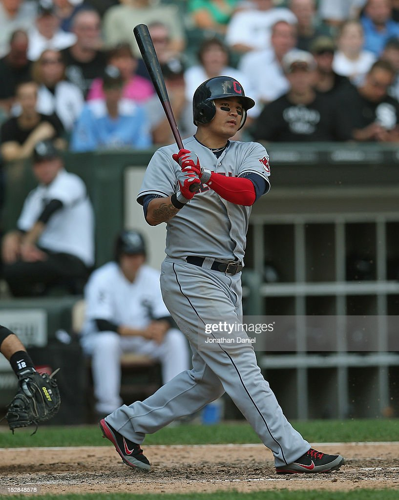 Shin-soo Choo #17 of the Cleveland Indians bats against the Chicago White Sox at U.S. Cellular Field on September 25, 2012 in Chicago, Illinois. The Indians defeated the White Sox 4-3.