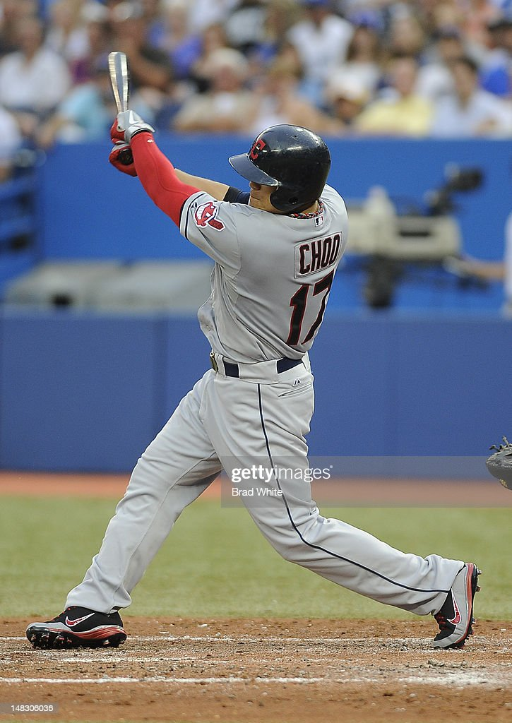 <a gi-track='captionPersonalityLinkClicked' href=/galleries/search?phrase=Shin-Soo+Choo&family=editorial&specificpeople=196543 ng-click='$event.stopPropagation()'>Shin-Soo Choo</a> #17 of the Cleveland Indians bats during MLB game action against the Toronto Blue Jays July 13, 2012 at Rogers Centre in Toronto, Ontario, Canada.