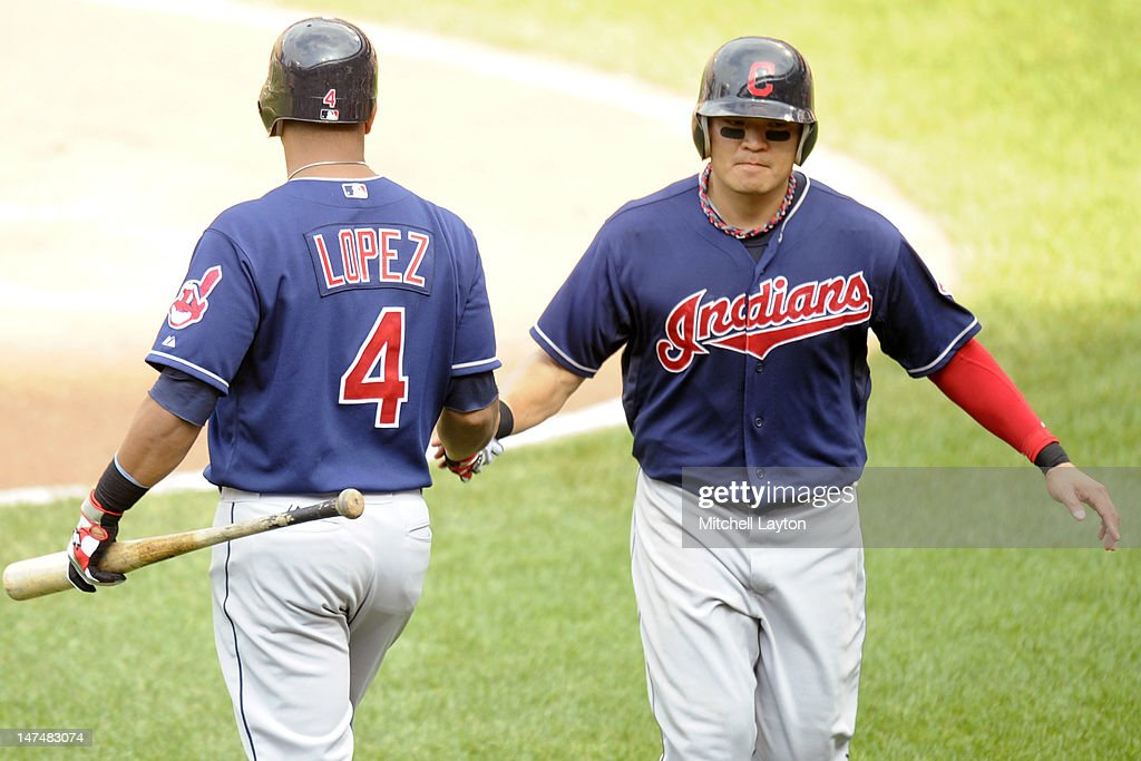 <a gi-track='captionPersonalityLinkClicked' href=/galleries/search?phrase=Shin-Soo+Choo&family=editorial&specificpeople=196543 ng-click='$event.stopPropagation()'>Shin-Soo Choo</a> #17 of the Cleveland Indians celebrates scoring a run with Jose Lopez #4 during a baseball game against the Baltimore Orioles at Oriole Park at Camden Yards on June 30, 2012 in Baltimore, Maryland.