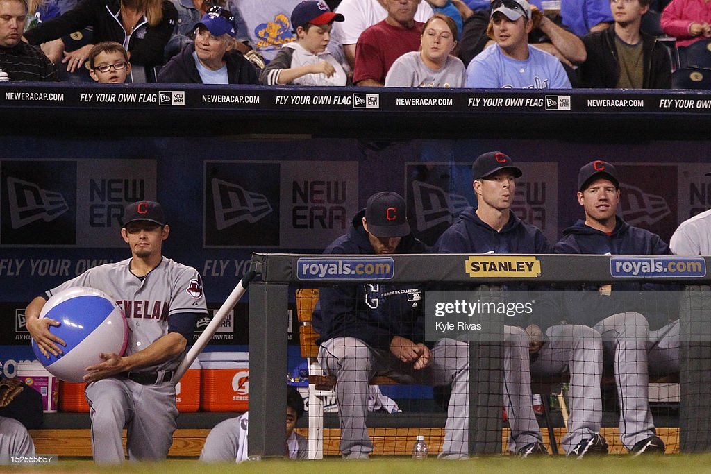 <a gi-track='captionPersonalityLinkClicked' href=/galleries/search?phrase=Shin-Soo+Choo&family=editorial&specificpeople=196543 ng-click='$event.stopPropagation()'>Shin-Soo Choo</a> #17 of the Cleveland Indians holds onto a beach ball thrown onto the field during the game against Kansas City Royals in the fifth inning on September 21, 2012 at Kauffman Stadium in Kansas City, Missouri.