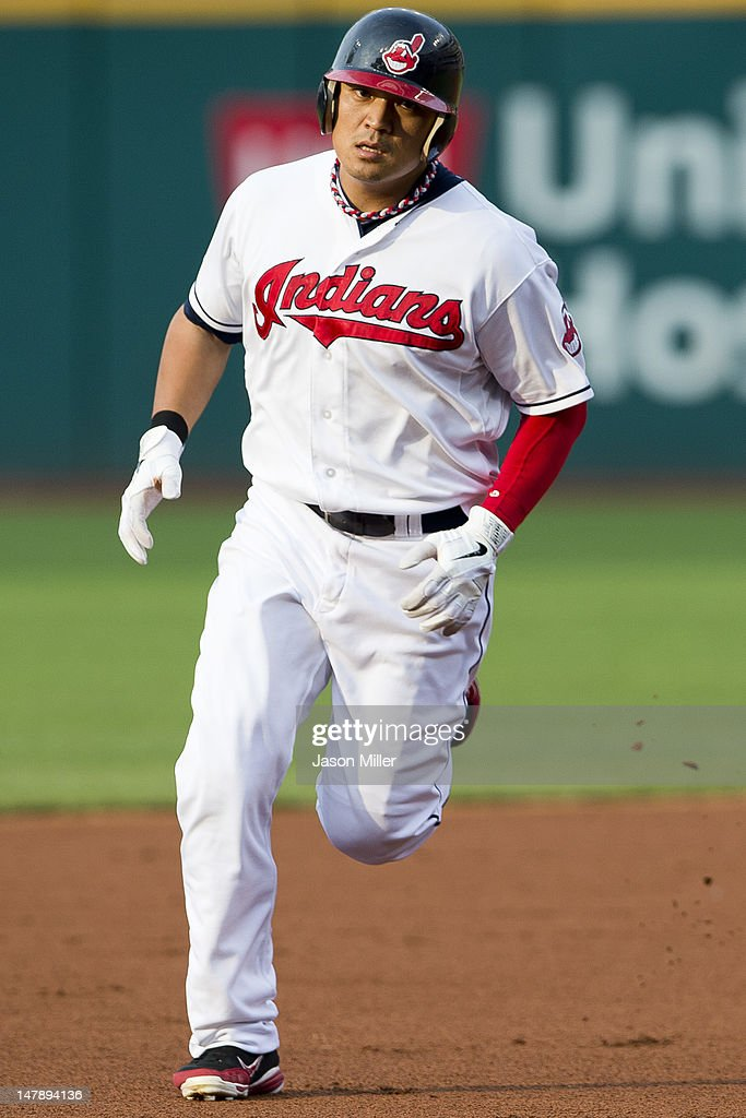 <a gi-track='captionPersonalityLinkClicked' href=/galleries/search?phrase=Shin-Soo+Choo&family=editorial&specificpeople=196543 ng-click='$event.stopPropagation()'>Shin-Soo Choo</a> #17 of the Cleveland Indians rounds the bases after hitting a solo home run during the first inning against the Tampa Bay Rays at Progressive Field on July 5, 2012 in Cleveland, Ohio.