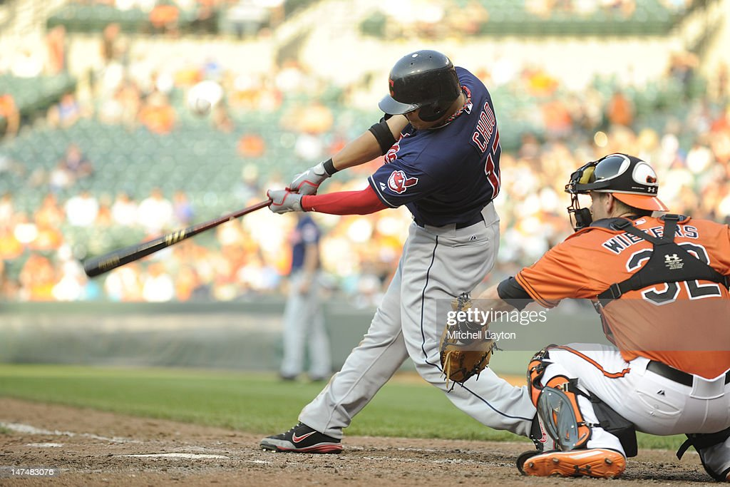 Shin-Soo Choo #17 of the Cleveland Indians takes a swing during a baseball game against the Baltimore Orioles at Oriole Park at Camden Yards on June 30, 2012 in Baltimore, Maryland.