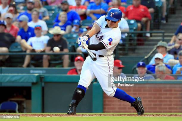 ShinSoo Choo of the Texas Rangers at bat against the New York Mets in the bottom of the second inning at Globe Life Park in Arlington on June 6 2017...