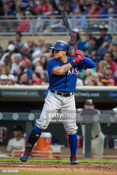 ShinSoo Choo of the Texas Rangers bats against the Minnesota Twins on August 5 2017 at Target Field in Minneapolis Minnesota The Rangers defeated the...