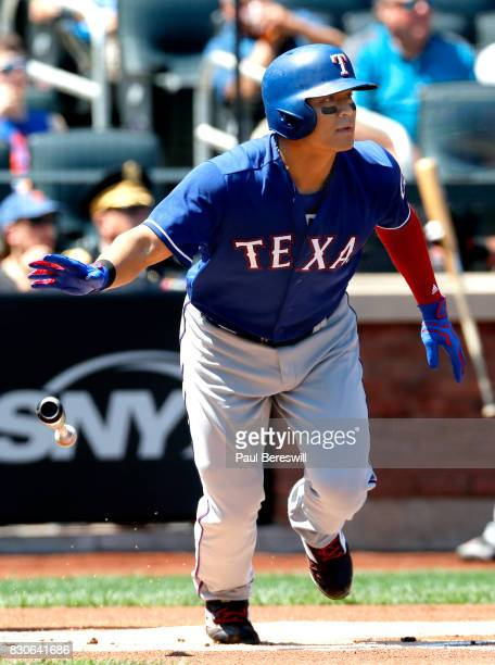 ShinSoo Choo of the Texas Rangers bats in an interleague MLB baseball game against the New York Mets on August 9 2017 at CitiField in the Queens...