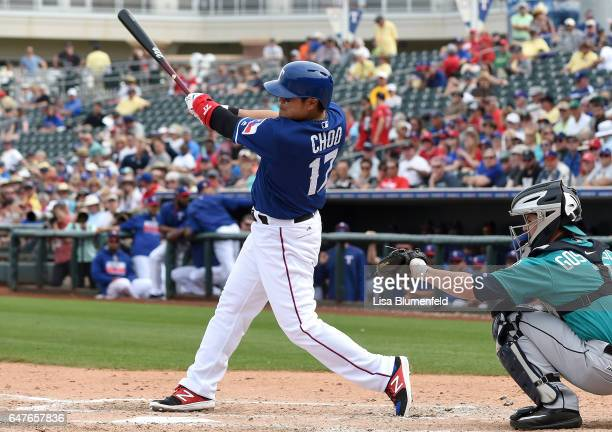 ShinSoo Choo of the Texas Rangers bats in the third inning against the Seattle Mariners on March 3 2017 in Surprise Arizona