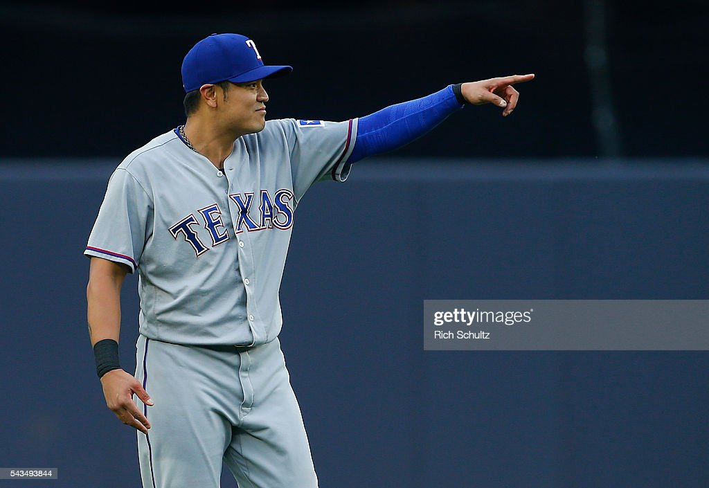 <a gi-track='captionPersonalityLinkClicked' href=/galleries/search?phrase=Shin-Soo+Choo&family=editorial&specificpeople=196543 ng-click='$event.stopPropagation()'>Shin-Soo Choo</a> #17 of the Texas Rangers gestures before the start of a game against the New York Yankees at Yankee Stadium on June 28, 2016 in the Bronx borough of New York City.