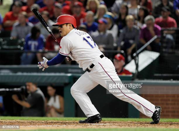 ShinSoo Choo of the Texas Rangers grounds into a double play during the fifth inning of a baseball game against the Minnesota Twins at Globe Life...