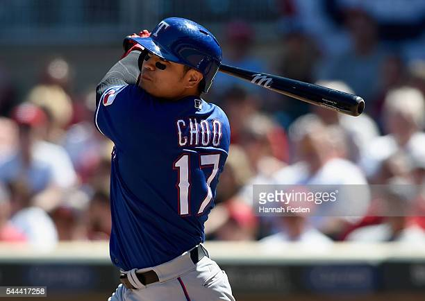 ShinSoo Choo of the Texas Rangers hits a tworun double against the Minnesota Twins during the seventh inning of the game on July 3 2016 at Target...