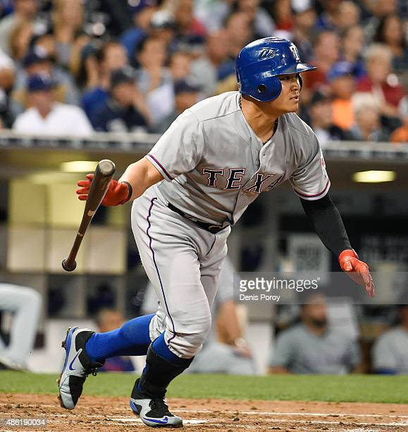 ShinSoo Choo of the Texas Rangers hits an RBI double during the third inning of a baseball game against the San Diego Padres at Petco Park September...