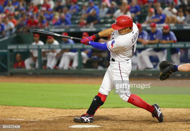 ShinSoo Choo of the Texas Rangers hits in the eight inning against the Seattle Mariners at Globe Life Park in Arlington on August 1 2017 in Arlington...