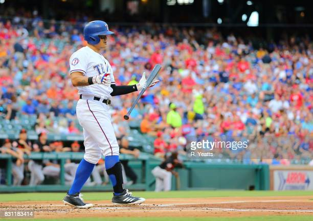 ShinSoo Choo of the Texas Rangers hits in the first inning against the Baltimore Orioles at Globe Life Park in Arlington on July 28 2017 in Arlington...